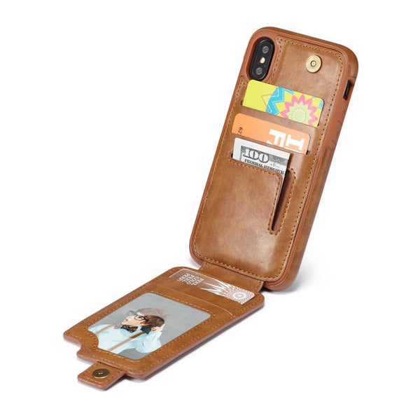 iPhoneX Cell Phone Leather Wallet Case with Cards and Cash Slots