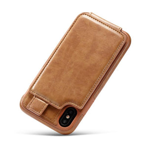 iPhoneX Cell Phone Leather Wallet Case with Cards and Cash Slots - Less+mORE