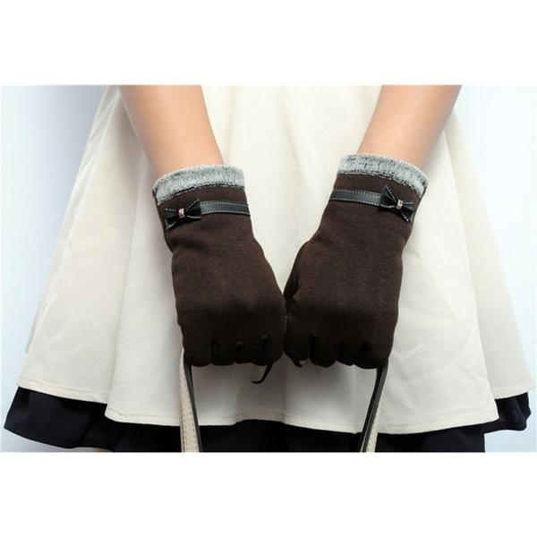 Classic Cute Cashmere Touchscreen Gloves for women - Winter Gloves- Brown - Less+mORE