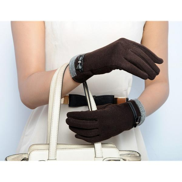Classic Cute Cashmere Women Screen Texting Wrist Gloves- Brown - Less+mORE
