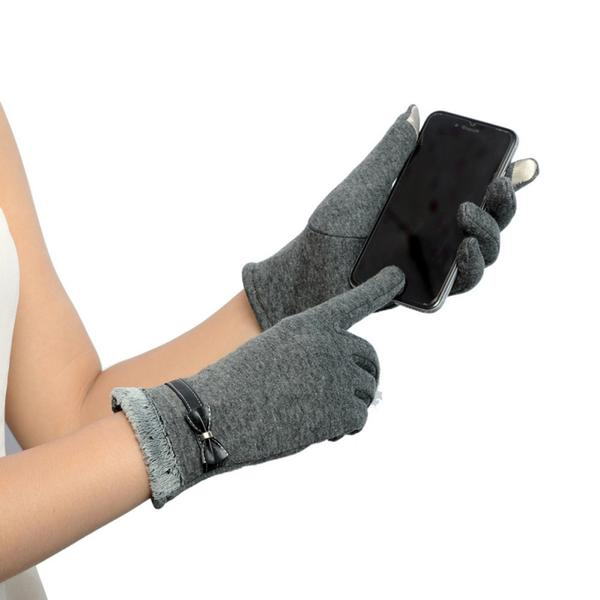 Classic Cute Cashmere Women Screen Texting Wrist Gloves- Grey
