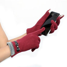 Load image into Gallery viewer, Classic Cute Cashmere Touchscreen Gloves for women - Winter Gloves- Wine color - Less+mORE