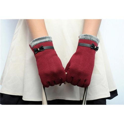 Classic Cute Cashmere Women Screen Texting Wrist Gloves- Red - Less+mORE