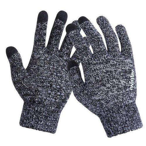 Knitted Wool Touch Screen Texting Functional Gloves - Grey - Less+mORE