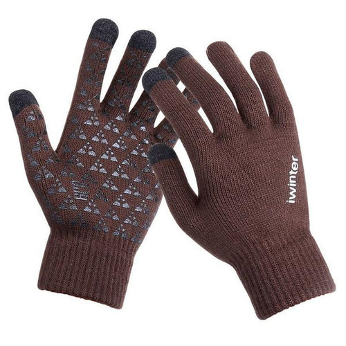Knitted Wool Touch Screen Texting Functional Gloves - Brown - Less+mORE
