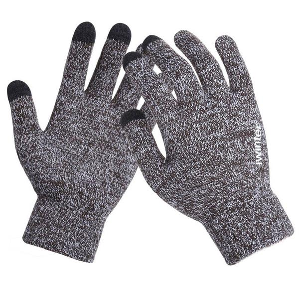 Knitted Wool Touch Screen Texting Functional Gloves - Light Grey - Less+mORE