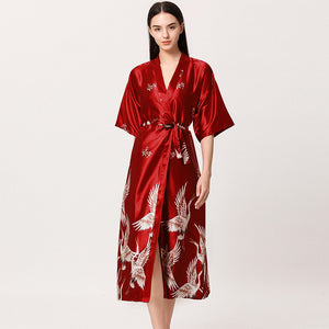 Danger Red Satin Flamingo Long Kimono Robe - Less+mORE
