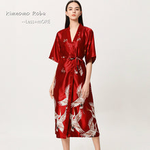 Load image into Gallery viewer, Danger Red Satin Flamingo Long Kimono Robe - Less+mORE