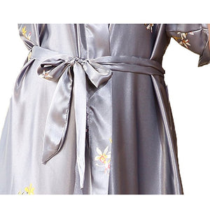 Silver Grey Satin Flamingo Long Kimono Robe - Less+mORE