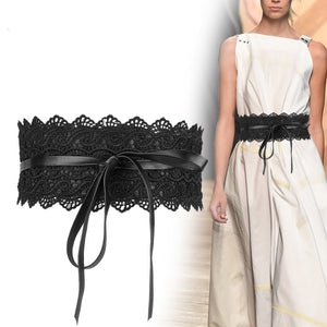 Black White Wide Corset Lace Belt Female Self Tie Cinch Waist Belts for Women Dress Waist Belt - Less+mORE