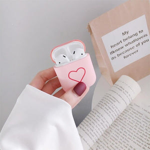 Cute Earphone Cover For Apple AirPods 1 2 Cases AirPods2 Protection Air Pods Matte Skin Frosted Hard Pink Love Heart Accessories - Less+mORE