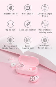New TWS Bluetooth Earbuds Macaron Color - Black - Less+mORE
