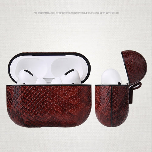 AirPods Pro Case - Snake Skin Pattern PU Leather-Brown - Less+mORE