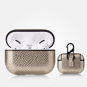 AirPods Pro Case - Snake Skin Pattern PU Leather-Silver - Less+mORE