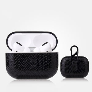 AirPods Pro Case - Snake Skin Pattern PU Leather-Blue - Less+mORE