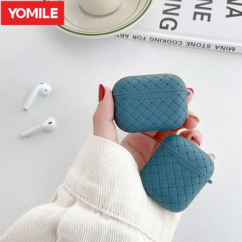 Earphone Case For Apple AirPods Pro/2 Soft TPU Cover ,Wireless Bluetooth Headphone Air Pods Weaving Grid Protective Case - Less+mORE