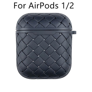 Earphone Case For Apple AirPods Pro/2 Soft Leather Cover ,Wireless Bluetooth Headphone Air Pods Weaving Grid Protective Case - Less+mORE