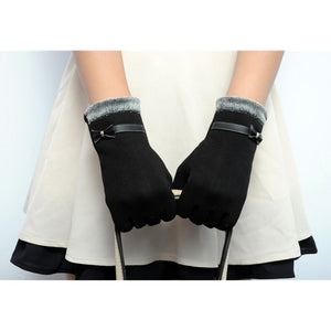 Classic Cute Cashmere Women Screen Texting Wrist Gloves- Black - Less+mORE