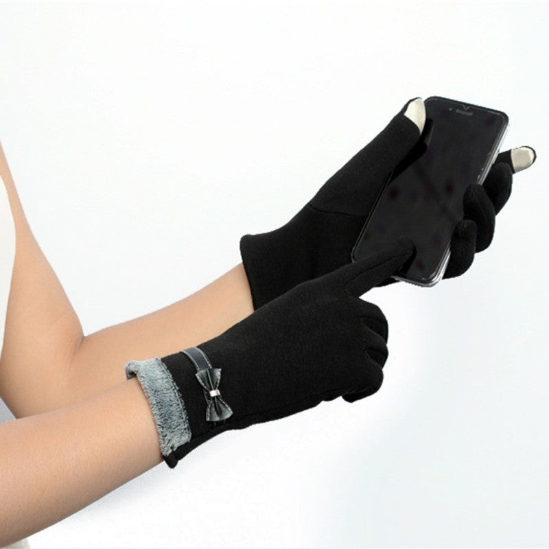 Classic Cute Cashmere Women touchscreen Texting Wrist Gloves- Black - Less+mORE