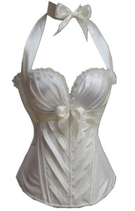 Bow Waist Corset Bustier Outwear - White - Less+mORE