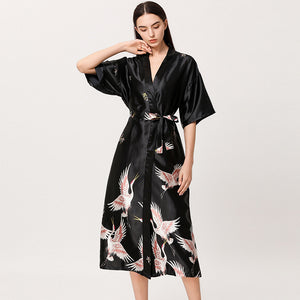 Silver Black Satin Flamingo Long Kimono Robe - Less+mORE