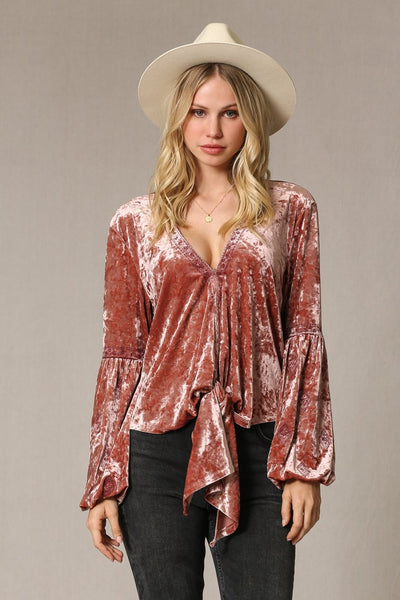 Crushed Velvet Front Tie Top - Wildflowers Boutique