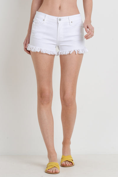 Just USA White Frayed Shorts - Wildflowers Boutique