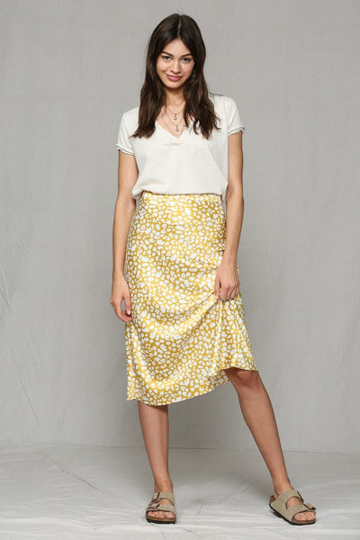 Satin Leopard Print Highwaisted Midi Skirt - Wildflowers Boutique