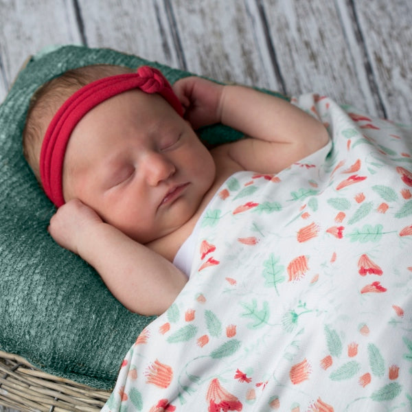 Coral Fairy Flowers Swaddle Blanket