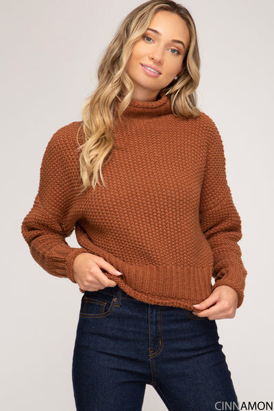 Cinnamon Turtle Neck Top - Wildflowers Boutique