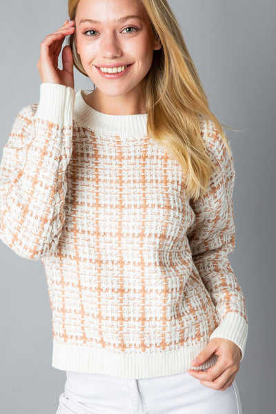 Tweed Checked Sweater - Wildflowers Boutique