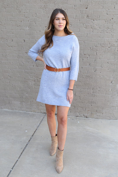 Molly Bracken Knit Dress in Light Blue - Wildflowers Boutique