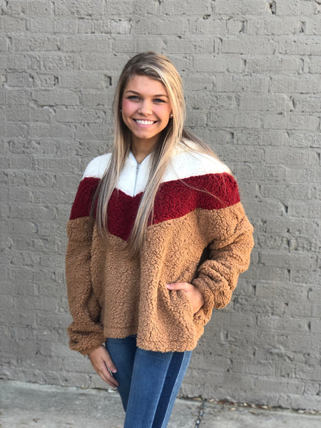 Burgundy Colorblock Sherpa - Wildflowers Boutique