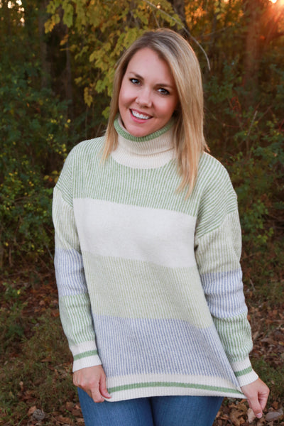 Merry Grinch Mas Striped Colorblock Sweater - Wildflowers Boutique