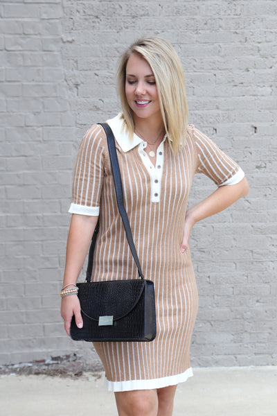 Camel Ribbed Sweater Dress - Wildflowers Boutique