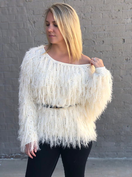 Molly Off White Fringe Sweater - Wildflowers Boutique