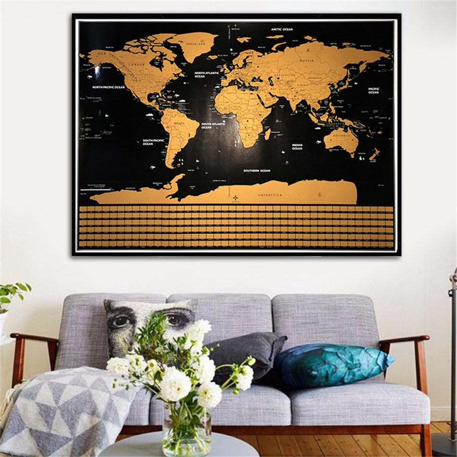 Deluxe Scratch Off World Map Includes StatesProvinces Explore And - Framed scratch world map