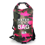 10 liter pink camouflage waterproof outdoor dry bag backpack