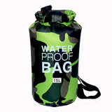15 liter green camouflage waterproof outdoor dry bag backpack