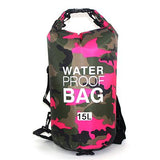 15 liter pink camouflage waterproof outdoor dry bag backpack