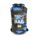 2 liter blue camouflage waterproof outdoor dry bag backpack