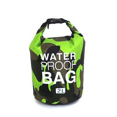 2 liter green camouflage waterproof outdoor dry bag backpack