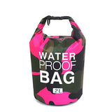 2 liter pink camouflage waterproof outdoor dry bag backpack