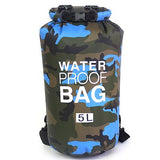 5 liter blue camouflage waterproof outdoor dry bag backpack