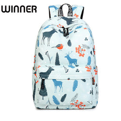 Waterproof Backpack Blue Elk Landscape Pattern