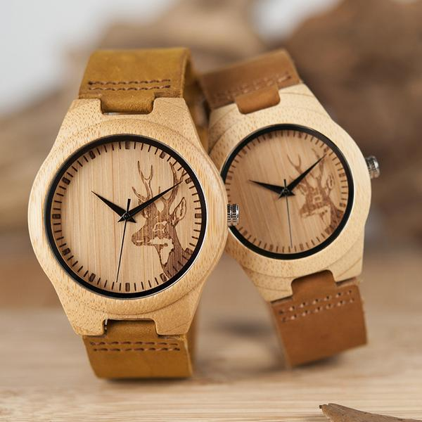 Wooden Watch with Soft Brown Leather Strap