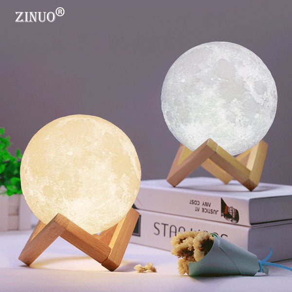Rechargeable Moon Lamp 2 Color Change 3D Light Touch