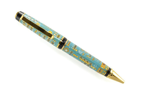 Opus Mechan Technica Collection Double Barrel Blue Circuit Board Ballpoint Pen