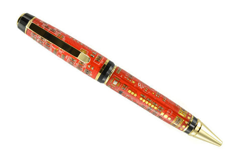 Opus Mechan Technica Collection Double Barrel Red Circuit Board Ballpoint Pen