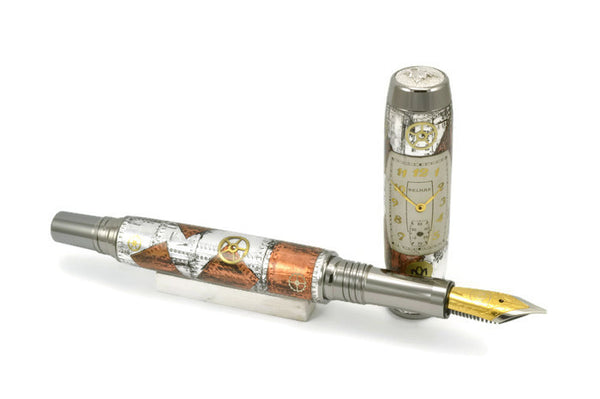 Opus Mechan Steampunk Collection Watch Parts Mid-Size Rollerball & Fountain Pen